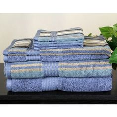 @Overstock - This six-piece towel set features one striped and one solid bath towel, hand towel, and wash cloth. 100-percent Egyptian cotton and a 2-ply construction make these Majestic towels soft and luxurious.http://www.overstock.com/Bedding-Bath/Egyptian-Cotton-Solid-and-Striped-6-piece-Towel-Set/5745109/product.html?CID=214117 $40.99