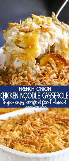 French Onion Chicken Noodle Casserole is an easy family dinner idea that everyone loves. Simple to make with rotisserie chicken & egg noodles. Delicious! @KleinworthCo #chicken #pasta #easyrecipes #dinner #casserole #noodle