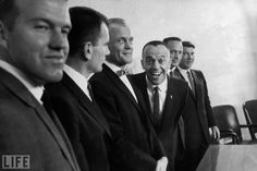 """Six of the seven original Mercury astronauts in early 1961, shortly after three of them -- Shepard, John Glenn, and Gus Grissom -- were named candidates for the May 1961 space flight. (That's Shepard, clowning, with Gordon Cooper, Donald """"Deke"""" Slayton, Glenn, Scott Carpenter, and Walter Schirra. Grissom was away, on missile-tracking duty.) Gus Grissom, John Glenn, Mercury Seven, Project Mercury, Nasa History, Hometown Heroes, Astronauts In Space, The Right Stuff, The Originals"""