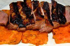 Duck on sweet potato planks