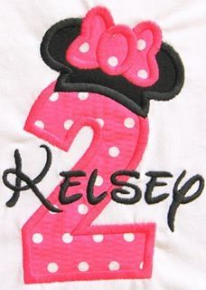 Birthday Minnie Embroidered Shirt. Visit www.facebook.com/PrincessWiggleBottom to view more!