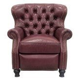 Barcalounger Presidential Collection 74148570076 34 Inch Recliner with Pocket Coil Spring Seating, Loose Welted Box Seat Cushion, Bun Feet, High Resilience Seat Foam and Leather Upholstery in Shoreham Wine Color Chesterfield Chair, Armchair, Barcalounger, Wall Hugger Recliners, Sit Back And Relax, Leather Recliner, Classic Elegance, Tufting Buttons, Couches