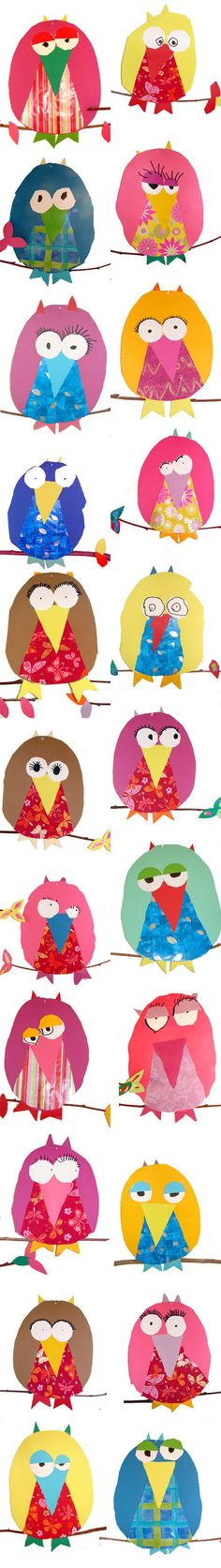 Children's craft table: Provide owl shapes and templates of the eyes and beak to trace and cut out on their own. Slaughter = you must do this (or I will with the wee cherubs/owlets) Kindergarten Art, Preschool Art, Owl Art, Bird Art, Classe D'art, Art For Kids, Crafts For Kids, Ecole Art, School Art Projects