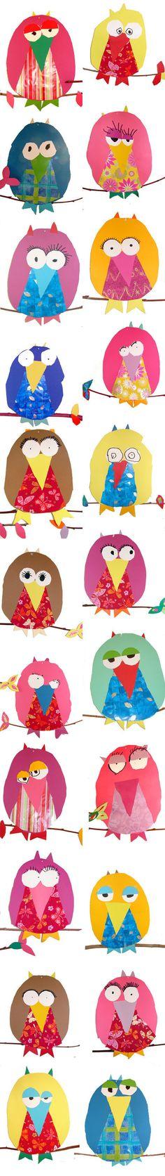 """Après les fabuleux Hiboux de Courroux... Les Poules ! """"Bricolage-oeuvre d'art"""" réalisés pour Pâques, (encore et toujours) par les talentueux élèves de Crystel... et en plus j'ai le grand, l'immense plaisir d'en avoir reçue une en cadeau !!!!! :-) Merci les enfants et Merci Crystel !! Je vous envois plein de GROS bisous."""