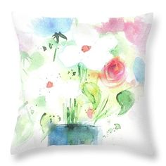 """Beautiful Bouquet Throw Pillow by Britta Zehm. Our throw pillows are made from 100% spun polyester poplin fabric and add a stylish statement to any room. Pillows are available in sizes from 14"""" x 14"""" up to 26"""" x 26"""". Each pillow is printed on both sides (same image) and includes a concealed zipper and removable insert (if selected) for easy cleaning."""