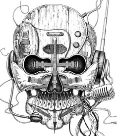 Skull was composited by music instrument which was illustrated by Ken Li in Grandion Industrial Ltd.