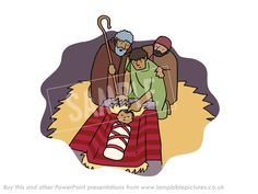 Shepherds find baby Jesus in the manger. From the PowerPoint presentation: Christmas story | Nativity