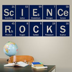 Science Rocks periodic vinyl decal, science wall decal, classroom teacher decor, chemistry dorm decal, table of elements Science Rocks periodic vinyl decal. This fun science wall decal is perfect in a classroom or dorm room. It measures 17 Science Lessons, Teaching Science, Science Education, Science Quotes, Science Today, Science Worksheets, Science Curriculum, Science Activities, Science Projects