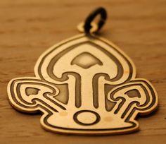 Mushroom Brass pendant metal jewelery by SolarisArt on Etsy