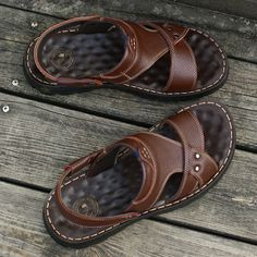 Men Comfy Arch Support Outdoor Slip Resiatnt Water Beach Leather Flip Flops sells at a wholesale price, more other mens slippers also sell at a wholesale price. Sandals 2018, Shoes Sandals, Brown Sandals, Leather Sandals, Leather Flip Flops, Flip Flop Shoes, Mens Slippers, Plein Air, Cowgirl Boots