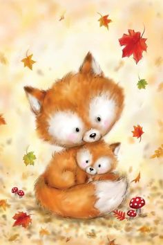 Fox II Canvas Art Print by MAKIKO   iCanvas Cute Animal Illustration, Cute Animal Drawings, Cute Drawings, Illustration Art, Illustrations, Canvas Artwork, Canvas Art Prints, Fox Art, Tatty Teddy