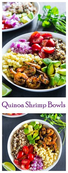 Grilled cilantro lime shrimp with tricolor quinoa and freshly chopped vegetables.