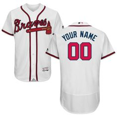 9083eaead Men Atlanta Braves Majestic Home White Flex Base Authentic Collection  Custom MLB Jersey