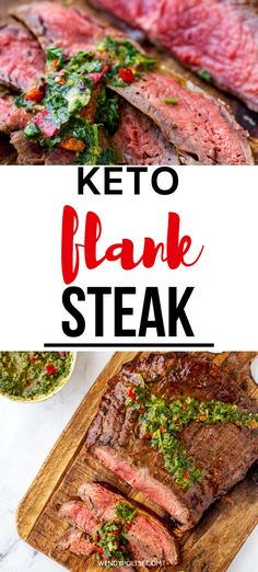 Keto Flank Steak is super simple to make and perfect for family dinners. With fresh rosemary, garlic, and a kick of lemon, this meat is sure to leave your taste buds doing a happy dance. I like to serve it with a drizzle of Chimichurri sauce for an extra pop of flavor. #flanksteak #lowcarb #keto