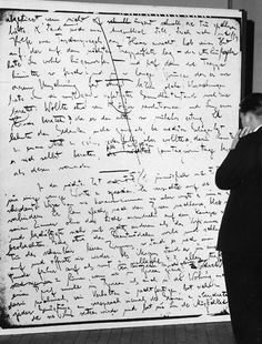 Display of a page in Franz Kafka's handwriting, in an exhibition in Berlin, 1966.