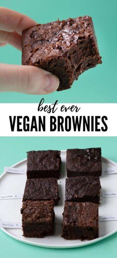 The BEST Vegan Brownies I've ever had! They're fudgy, full of chocolate and completely dairy free, egg-free and vegan. Made without any weird ingredients, you'd never believe Vegan Brownies could tast Fudge Vegan, Fudgy Vegan Brownies, Dairy Free Brownies, No Egg Brownies, Easy Gluten Free Desserts, Vegan Dessert Recipes, Brownie Recipes, Chocolate Recipes, Dessert Healthy