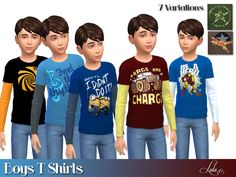 Boys Long Sleeve T's by Lulu265 at TSR via Sims 4 Updates