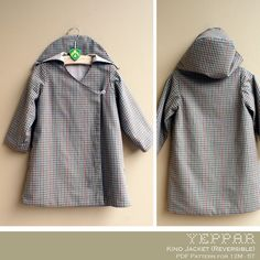 No Serger - PDF Pattern - Kino Jacket (Reversible) for 12M - 5T and tutorial.. $5.95, via Etsy.
