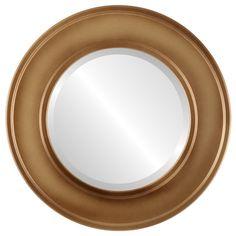 Montreal Framed Round Mirror in Desert Gold - Brown/Dark Gold (Copper Finish - Gold Circle Mirror, Gold Framed Mirror, Mirror With Hooks, Round Wall Mirror, Beveled Mirror, Black Mirror, Round Mirrors, Frame Mirrors, Classic Wall Mirrors