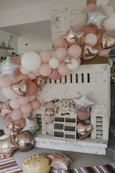 Wedding Shower Decor Inspo Celebration Party Planning with Metalic Bridal Shower Balloon Garland, Balloon Decorations, Balloon Party, Baloon Backdrop, Rainbow Balloon Arch, Hen Party Decorations, Party Garland, Balloon Wall, Birthday Brunch