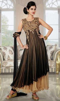 Beige and Black Net Layered Designer Anarkali Suit