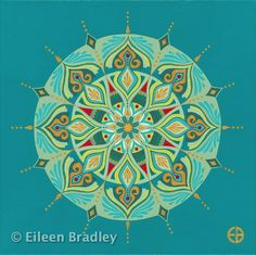 Sacred Circle Art: Hand Painted Mandalas by Eileen Bradley Mandala Design, Mandala Art, Circle Art, Mosaic Designs, Mandala Coloring, Sacred Geometry, Fractals, Green Aqua, Blue