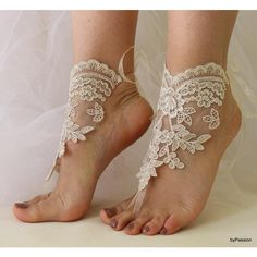 Beach Wedding Barefoot Sandals Lace Shoes,Wedding Shoes,Champagne Lace... ($26) ❤ liked on Polyvore featuring shoes, sandals, beach sandals, bride shoes, beach shoes, lace-up sandals and champagne wedding shoes