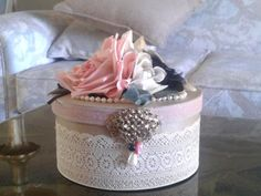 Decorated Hat box decorated with vintage by GoodStufffff on Etsy, $25.00