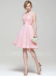 [US$ 111.49] A-Line/Princess Scoop Neck Knee-Length Chiffon Lace Bridesmaid Dress With Bow(s)