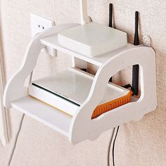New Wall Mount Shelf Unique TV Box Hang Holder Bedroom Wifi Router Storage Rack