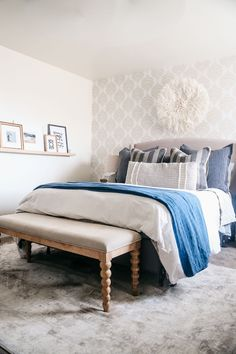 Modern Casual Coastal Master Bedroom in a Rental Home Coastal Master Bedroom, Bedroom Decor, Rental Decorating, Decorating Ideas, Diy House Projects, Beautiful Bedrooms, Coastal Decor, Home Decor Inspiration, Home Goods