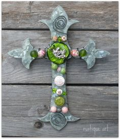 Pink & Green on Galvanized wall cross. Zinc