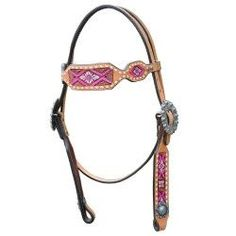 Pink Floral Tribal Headstall