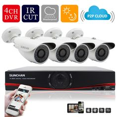 SUNCHAN 4CH 1MP HD AHD CCTV Camera  720P 24 Leds Day Night Vision Outdoor/Indoor Security Camera System Home Surveillance