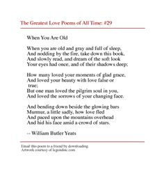 Yeats. This is just absolutely beautiful... the words just flow and are so powerful... :))
