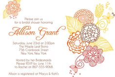 BRIDAL SHOWER Brown & Orange FALL Themed by PaperPartyCo on Etsy, $15.95