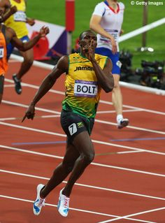 Shhh…The pic is of Usain Bolt after winning the men's 200m at London 2012