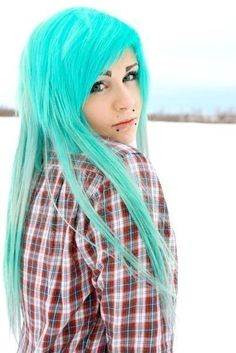 turquoise  hair #bright #hair #dyed #coloured