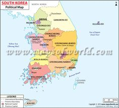 Political Map of South Korea helps the user in getting a clear idea about the various parts of South Korea. Map shows international boundary, the state boundaries with their capitals, national capital and other important cities. Chuncheon, Jeonju, Daejeon, Ulsan, Gwangju, Suwon, Country Maps, Daegu, Cartography