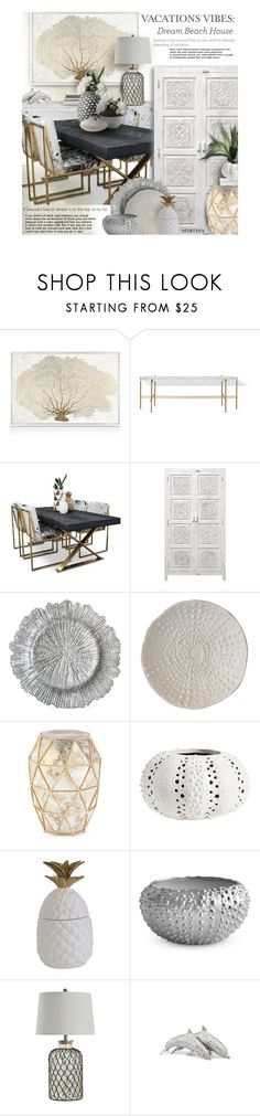 """Vacation Vibes: Dream Beach House"" by thewondersoffashion ❤ liked on Polyvore featuring interior, interiors, interior design, home, home decor, interior decorating, Oliver Gal Artist Co., Jay Import, Global Views and Bernhardt"