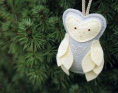 Silver Felt Owl Ornament // Gray Nursery Decor // Woodland Christmas Plush // Door Hanger by OrdinaryMommy on Etsy