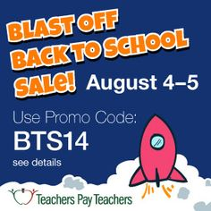 TEACHERS: Monday and Tuesday, you don't want to miss the HUGE sale. Get up to 28% of all resources.