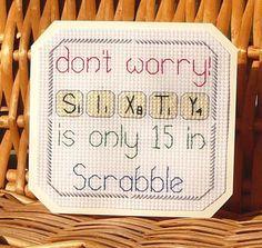 60th Scrabble Birthday Card, Cross Stitch Kit 14 Count No. 082