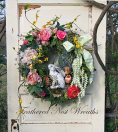 Spring Door Wreath Easter Wreath Spring by FeatheredNestWreaths