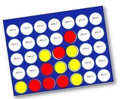 """Quelques petits jeux de """"puissance 4"""" pour réviser, à deux, les opérations sur les nombres entiers. Le joueur choisit sa case et effectue l'opération. Si le résultat est correct, il peut placer son p"""
