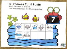 10-Frames cut and paste activities for preschool and kindergarten kids. Perfect for your kids who are just beginning to learn to count and learning their number 1 to 10. Learning Numbers Preschool, Preschool Themes, Preschool Kindergarten, Subtraction Activities, Math Games, Ocean Activities, Preschool Activities, Ocean Themes, Math For Kids