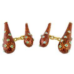 Tiffany/ Schlumberger Gold Enamel Turquoise Cufflinks