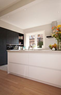 Property: Herenhuis Heemstede Room: ground floor with new extension occupancy plan - Ikea Kitchen, Home Decor Kitchen, Home Kitchens, Kitchen Dining, Closed Kitchen, Open Plan Kitchen Living Room, Cottage Lighting, Upper Cabinets, Kitchen Cabinets