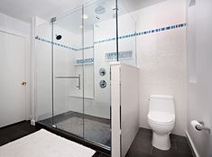 white tile shower with accent - Google Search