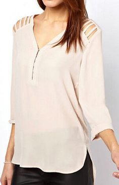 Specifications: Clothing Length:Regular Pattern Type:Solid Sleeve Style:Regular Material:Polyester Collar:V-Neck Sleeve Length:Three Quarter Size Bust Shoulder Front Length Back Length S 35,1 in (90 c